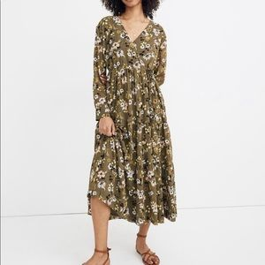 Madewell Wildblooms Tiered Long Sleeve Midi Dress